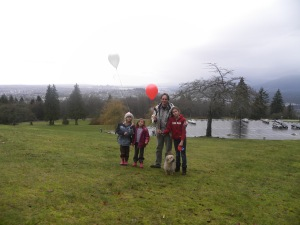 Releasing balloons on Burnaby mountain