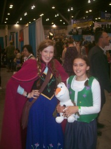 Tiny Weasel on the right, with a borrowed Olaf, meeting an older version of Ana.