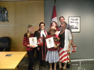 Just over a year ago, we took our oath and became Canadian citizens.
