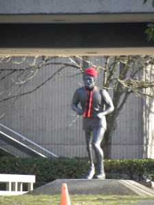 The Terry Fox statue at Simon Fraser University BC. When you think you're struggling with an overwhelming task, read about Terry Fox and find a little perspective there. (The scarf and hat are later additions to the statue, but I like to think they show people care.)