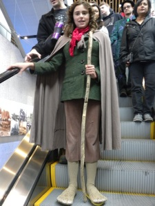 One does not simply take the escalator into Mordor....Unless you're showing off your custom Hobbit feet.