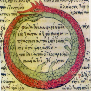 The Great Worm Ouroboros, a symbol of infinity, since it's eating its own tail. Although Renos seem to go on forever, I actually had a different metaphor in mind. But it was harder to Google.